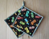 "Quilted Potholders ""Playful Doggies"" Set of 2, Quiltsy Handmade, Fabric Trivet, Quilted Hotpad"