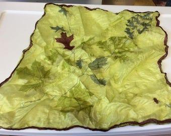 "15"" Square Scarf by VERA , pure silk, Hand rolled, Green with Burgandy Oak Leaves, Leaves, Leaf pattern, Designer Scarves, Ladybug"