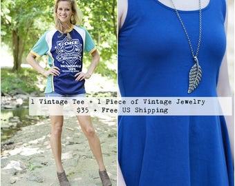 Vintage T Shirt Women - Boho Jewelry -  Vintage Tee Shirt - Band Tee Vintage - Vintage Jewelry - Statement Jewelry - Vintage Tshirts