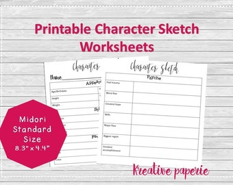 Character Sketch Worksheets Printable Traveler's Notebook Pages, Midori Inserts, Bullet Journal Standard Size