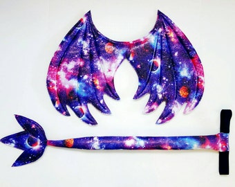Galaxy Dragon Wings and Tail set, wire free, purple and pink dragon costume, Halloween costume, kids dress up wings, cosplay