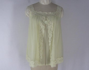 Vintage 60s Shadowline Babydoll Nightgown M Yellow Nylon Lace Trim USA