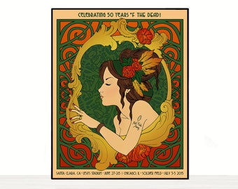 Grateful Dead Poster - 50th Anniversary - Santa Clara, CA & Chicago 2015