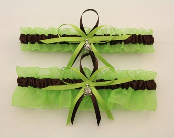 Lime Green and Brown Wedding Garter Set with Turtle Charms-Your Choice, Single or Set