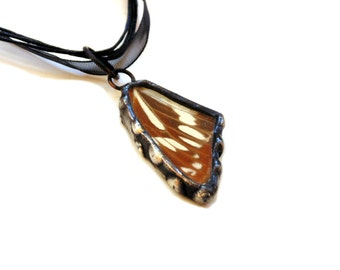 Stained glass necklace, Butterfly wing pendant necklace, brown wing jewelry, handmade insect jewelry, gift under 35, nature inspired