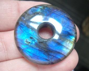 30mm, Labradorite, Gorgeous Firey Blue Gold Green Flashy Labradorite Smooth Donut PENDANT, D3013