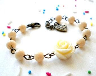 Baby Bracelet Flower Girl Gift First Birthday Girl Gift Spring Flower Girl Jewelry Ivory Rose Bracelet Baby Shower Gift Girl Children Gift