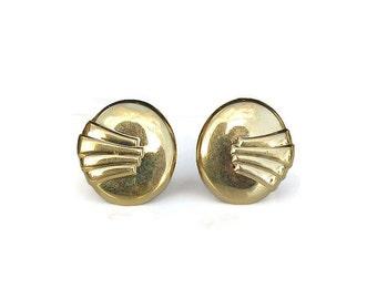 Monet Art Deco Style Earrings, Monet Earrings, Gold Tone, Vintage Earrings, Eighties Vintage, Vintage Jewelry