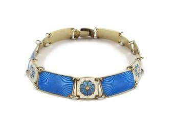 David Andersen Sterling Vermeil Enamel Bracelet - Norway Jewelry, Guilloche Enamel, Flower Bracelet, Vintage Bracelet, Vintage Jewelry