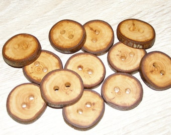"12 Handmade apple wood Tree Branch Buttons with Bark, accessories (1,06'' diameter x 0,20"" thick)"