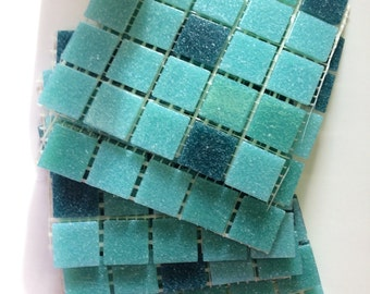 "Shades of Teal 3/4"" Glass Tile//tealtile//mosaic tile"