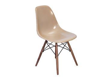 Eames Fiberglass Greige Shell Chairs on Walnut Dowel Base