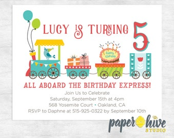 train birthday invitation /  birthday party invite / girl birthday party invitations / printed invitation / printable invitation