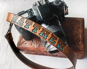 Custom Leather Camera Strap - Personalized Leather - Handmade & Handpainted - Unisex -Made to Order by Mesa Dreams - Simple Masculine