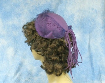20% OFF Vintage 40s 50s Quirky Lilac Felted Wool Winged Profile Cap Hat, Sz Med Lg