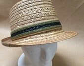 Vintage Straw Hat Size 7- 3/8 Unisex Hat by Genuine Milan Made in Italy
