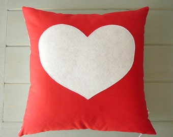 Heart Pillow - Cover - Decorative Pillow - Nursery Decor - Red and White