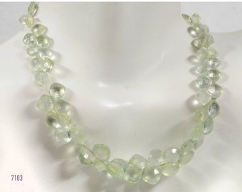 ON SALE Prehnite Cushion Cut Briolettes Top Drilled Faceted Pale Lime Green Mined Gemstone -  4-Inch Strand - 4 x 4  to 7 x 7mm  - About 31