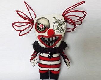 Creepy Clown Horror Doll Soft Sculpture Gothic Circus Doll
