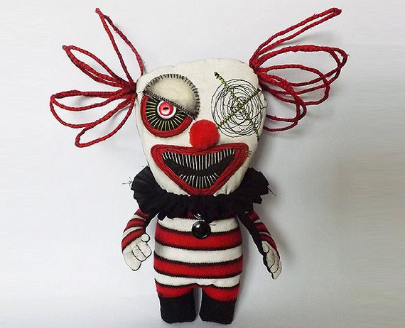 Creepy Clown Horror Doll Soft Sculpture Gothic Circus Doll