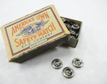 Tiny Small Gun Metal Sewing Buttons lot (100) Each In Old Vintage America's Own Safety Match Stick Box