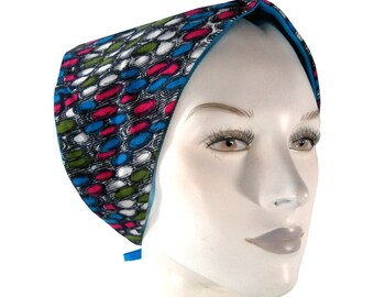 Vintage 70's Funky Graphic Circle Print Corduroy Head Scarf Kerchief, Reversible Sky Blue Headkerchief