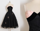 Reserved /// Vintage 50s Dress | Frank Starr 1950s dress |  flocked floral party dress xs/s | 5578