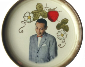 """Pee-wee Herman Portrait Plate - Altered Vintage Plate 6.4"""""""