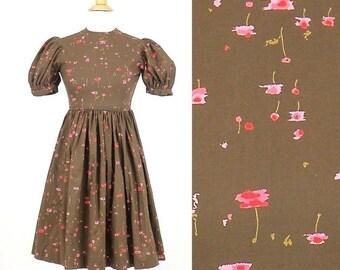 SALE 50s Girls Dress, 1950s Floral Dress, 50s Cotton Dress, Petite Teen Dolly Dress