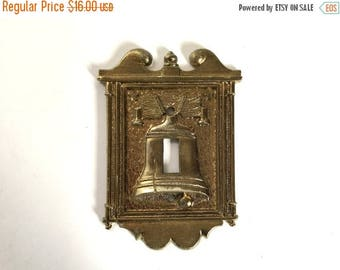 Vintage 1960's Vernon Gold Cast Metal Patriotic Liberty Bell Light Switch Cover - American Americana Colonial Decor