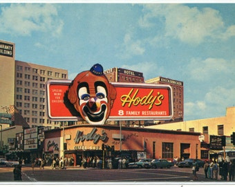 Hody's Coffee Shop Restaurant Clown Sign Hollywood California 1960s postcard