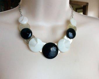 Art Deco black and white glass button necklace