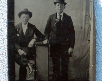 Tintype Men w/ Their Boutonnieres & Hats