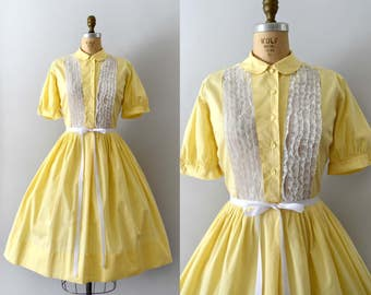 Vintage 1950s Dress - 50s Yellow Cotton and Lace Dress