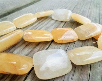 Yellow/ Orange Quartz Rectangle Beads 30x22mm 16 Inch Strand