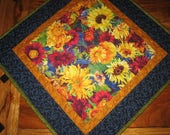 "Sunflower Summer Quilted Table Topper, 21 x 21"" 100% cotton fabrics"