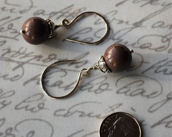 SALE~Chocolate Brown and Bali Sterling Silver Earrings