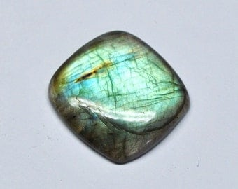 Blue Green Labradorite Cushion Cabochon, Natural Gemstone, Flat Back, Jewelry Supply - 21.8 x 20.5 x 4.7 mm - 19.1 ct - 161124-18
