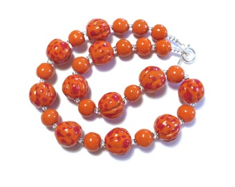 Kazuri Necklace, Ceramic Jewelry, Kazuri Bead Necklace, Orange and Red Kazuri Necklace