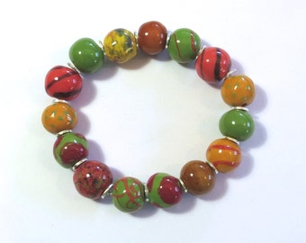 Beaded Bracelet, Kazuri Bangle, Fair Trade, Ceramic Jewellery, Autumn Colors