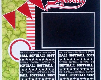 Softball scrapbook page - Scrapbook page for softball - Softball player - High School - College - Travel softball - Softball - Girls sports