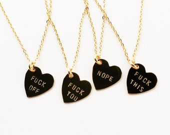 F.CK Off, F.CK This, Nope, F.CK You Heart Charm Necklaces