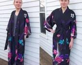 Black Kimono Robe 80s Floral Print S M Evelyn Pearson