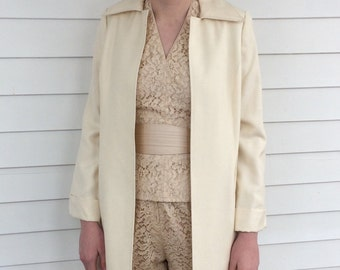 Ivory Long Coat Adele Simpson Vintage 70s S