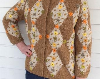 Floral Embroidered Cardigan Sweater Tan Orange Yellow Wool Dorina Italy M