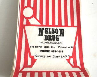Stack of 25 Old Nelson Drug Store Bags