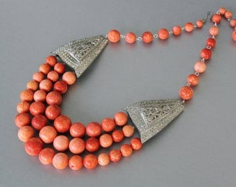 Coral Beaded Statement Necklace with Art Deco Rhinestone Buckles