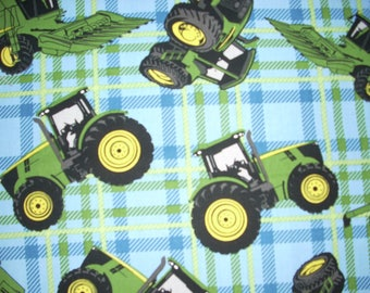 John Deere  plaid with tractors-  Cotton Fabric - 15 inches wide and sold by the yard