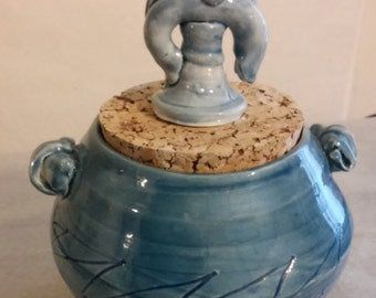 Ceramic Canister in Blue with Cork Lid