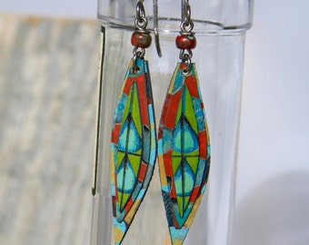 LOVELY LEAVES / Wood Earrings / Women's Jewelry / Gifts For Her / Sustainable / Earrings / Acrylic Painting / Art